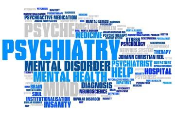 Psychiatry - word cloud illustration