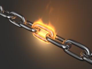 Steel chain link reliabilityin fire 3D. Teamwork
