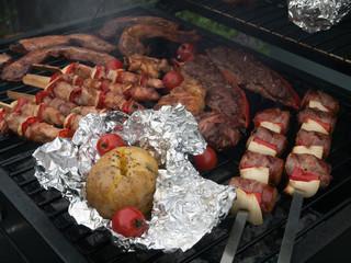 Grilled food on braai