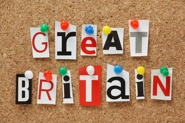 Great Britain letters collage on a cork notice board
