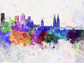 Cologne skyline in watercolor background