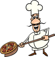 italian cook with pizza cartoon illustration