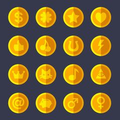 Set of flat gold coins