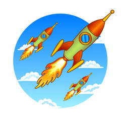 Vintage, old rockets on a sky background