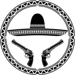 stencil of mexican sombrero and two pistols. first variant