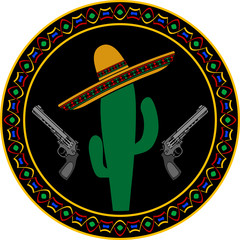sombrero, two pistols and cactus. first variant