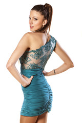 attractive girl posing in short evening dress