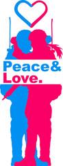 peace love paar liebe küssen frau girl mann boy