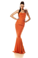 attractive girl posing in long evening dress