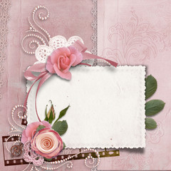 Vintage gorgeous background with card, roses, pearls
