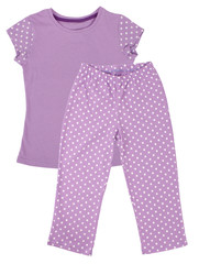 Pink childrens girls pajama set isolated on white