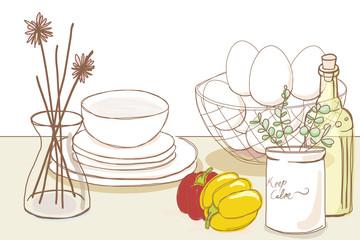 キッチンのインテリア/デコレーションとパプリカ