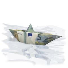 Papierschiffchen mit 5 Euro