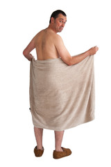 man with towel isolated on white