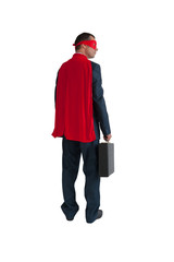 superhero businessman rear view isolated