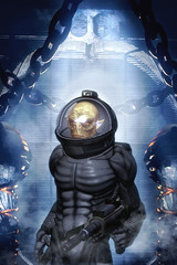 Alien soldier in spacesuit