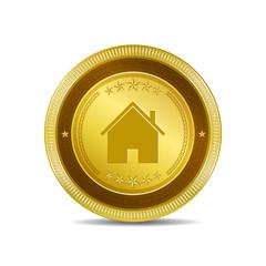 Home Circular Gold Vector Web Button Icon