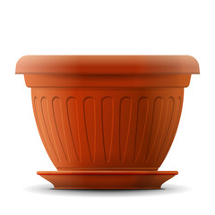 Empty flower pot with saucer. Front view of pot for plant