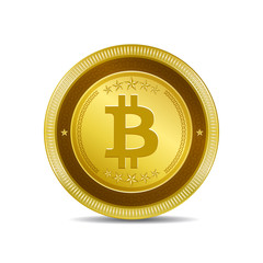 Bit Coin Currency Sign Gold Coin Vector Icon