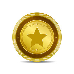 Star Circular Vector Gold Web Icon Button