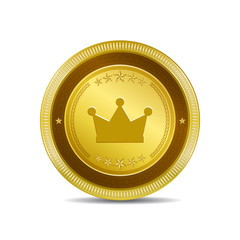 Crown Circular Vector Gold Web Icon Button