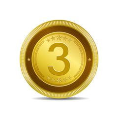 3 Number Circular Vector Gold Web Icon Button