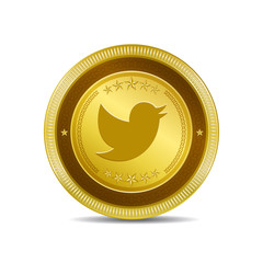 Bird Rounded Corner Gold Vector Icon Button