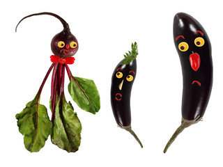 Funny portraits made of beet and eggplants