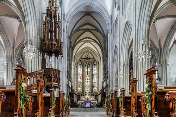 Majestic gothic cathedral interior.