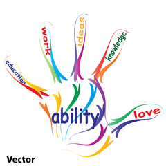 Vector hand print education concept text
