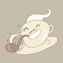 funny cup of coffee with tobacco pipe, vector illustration
