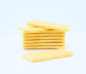 tartines,biscottes croustillantes isolé sur fond blanc