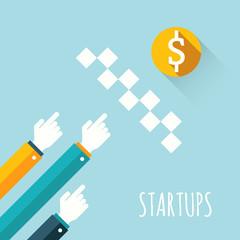 Startups.  Vector illustration.
