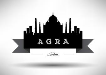 City of Agra Typographic Skyline Design