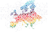Fototapety Europe abstract background with dot connection vector
