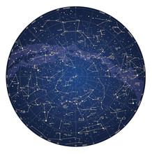 Wysokiej szczegółowe mapy nieba z półkuli północnej z nazwami
