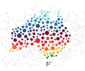 Australia abstract background with dot connection vector