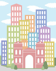 city with multicolored skyscrapers vector