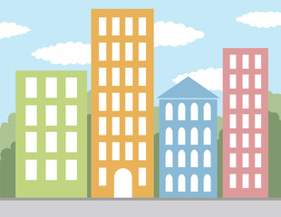 multicolored buildings vector