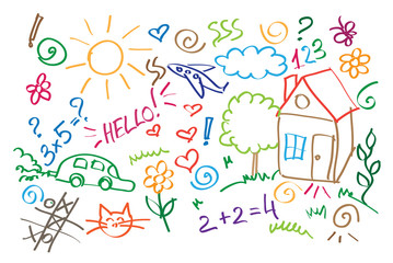 multicolored symbols children drawing style vector