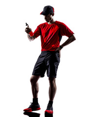 runner jogger drinking energy drinks silhouette