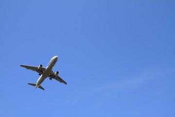 着陸する飛行機(A320)
