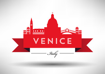 City of Venice Typographic Skyline Design