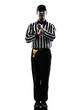 american football referee gestures holding silhouette
