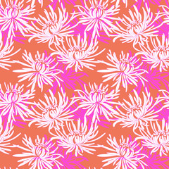 Hand drawn seamless pattern with chrysanthemum