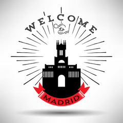 City of Madrid Typographic Skyline Design