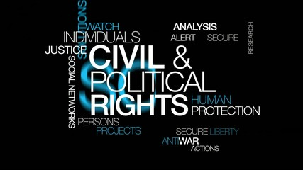 Civil and political rights human protection word tag cloud