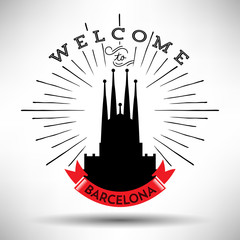 City of Barcelona Typographic Skyline Design
