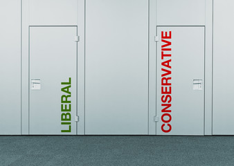 Liberal or conservative, concept of choice