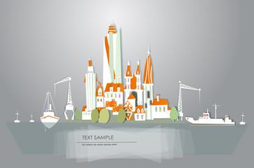Port illustration, city on the island